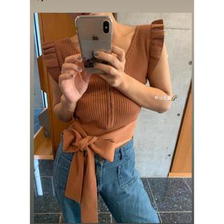 エディットフォールル(EDIT.FOR LULU)のmangata Frill knit tops ブラウン(カットソー(半袖/袖なし))