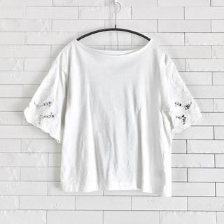 【まとめ買いで最大半額】5分袖トップス カットソー 白 綿100%(カットソー(半袖/袖なし))