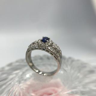 Pt900 サファイア ダイヤモンド デザイン リング 18-7217(リング(指輪))