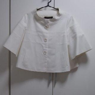 アンクライン(ANNE KLEIN)の大きいサイズ アンクライン 白ジャケット 未使用品(ノーカラージャケット)