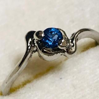 K18WG ブルーカラーの石の指輪(リング(指輪))
