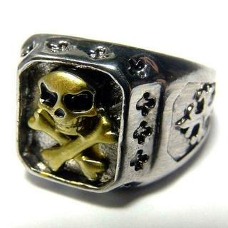 送料無料 クロスモチーフ スカル ドクロ リング 指輪 25号 メンズ(リング(指輪))
