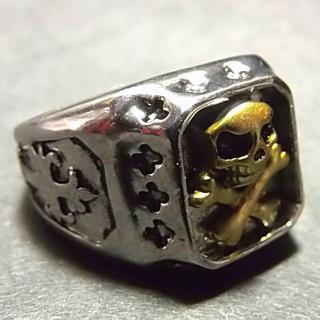送料無料 クロスモチーフ スカル ドクロ リング 指輪 22号 メンズ(リング(指輪))