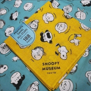スヌーピー(SNOOPY)のスヌーピーミュージアム バンダナ イエロー スヌーピー peanuts ハンカチ(バンダナ/スカーフ)