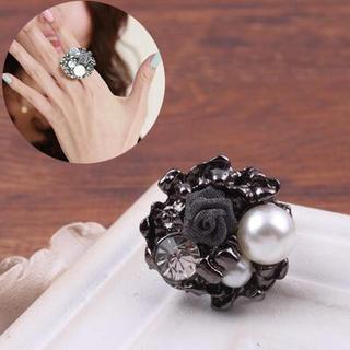 ブラックローズモチーフリング(リング(指輪))