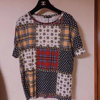 ザラ(ZARA)のZARA ザラ 新品 タグ パッチワーク チェーン ドット 花柄 半袖 Tシャツ(Tシャツ(半袖/袖なし))