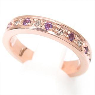 【フルエタニティ】K10PG ダイヤモンド0.20ct&ピンク石 7号 リング(リング(指輪))