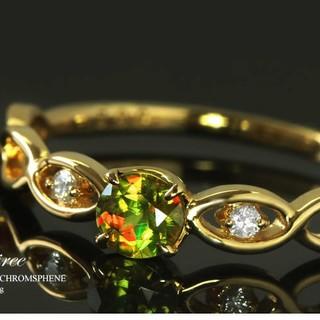 中古品 ビスー BIZOUX クロムスフェーン × ダイヤ × 18K デジレ(リング(指輪))