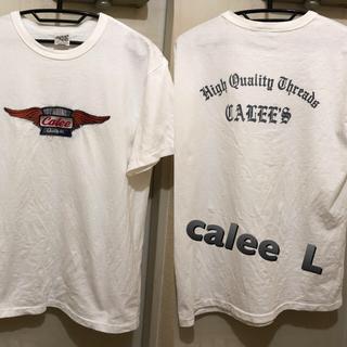 キャリー(CALEE)のLサイズ!日本製calee  キャリー 古着半袖Tシャツ 刺繍パッチ バックプリ(Tシャツ/カットソー(半袖/袖なし))
