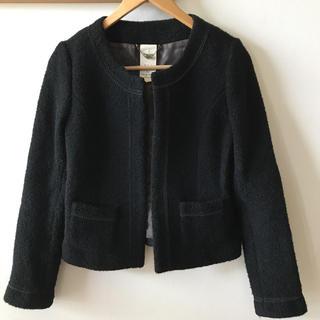 ソアリーク(Soareak)のソアリーク ウール  ノーカラージャケット  ツイード  秋冬  日本製  黒(ノーカラージャケット)