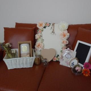 フランフラン(Francfranc)の結婚式 受付 ウェルカムスペース セット アンティーク ボード キャンドル 造花(ウェルカムボード)