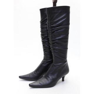 ニジュウサンク(23区)の23区 本革バックZIPギャザーブーツ(21.5cm)美品(ブーツ)
