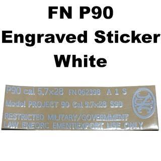 FN P90 刻印 メタルステッカー ホワイト 755-1071r(カスタムパーツ)