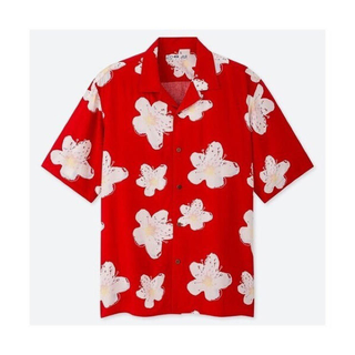 UNIQLO - 【ハワイ限定】UNIQLO オープンカラー プリント 半袖シャツ