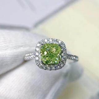 Gia1.27ctグリーンイエローダイヤモンド指輪(リング(指輪))
