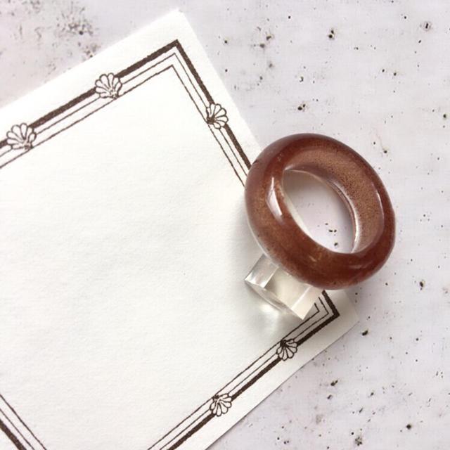 クリアリング  ⁎⁺˳✧༚  約 10号 ☆ ブラウン  レディースのアクセサリー(リング(指輪))の商品写真