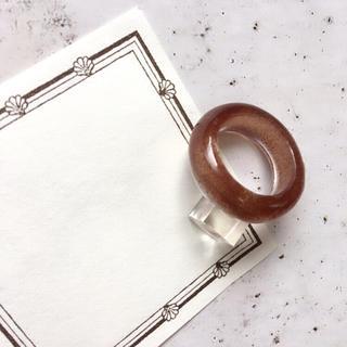 クリアリング  ⁎⁺˳✧༚  約 10号 ☆ ブラウン (リング(指輪))