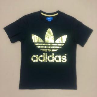アディダス(adidas)の★【美品】adidas アディダス Tシャツ両面デカロゴ ブラック×ゴールド M(Tシャツ/カットソー(半袖/袖なし))