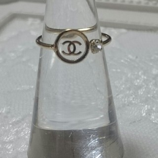 シャネル(CHANEL)のCHANEL ラインストーンクリアリングゴールド(リング(指輪))