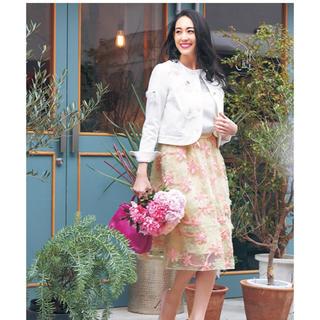 チェスティ(Chesty)の美品・Chesty・チェスティ・フラワーチュールスカート・ピンク・0サイズ(ひざ丈スカート)