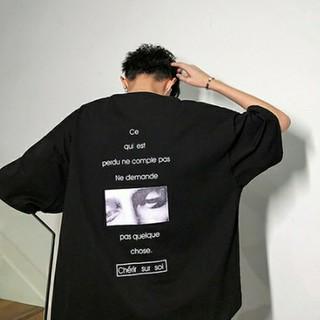 バックフォトビッグシルエットシャツ ブラック XXLサイズ(Tシャツ/カットソー(半袖/袖なし))