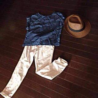 ジーユー(GU)のボーダー×デニム(シャツ/ブラウス(半袖/袖なし))