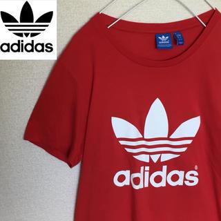 アディダス(adidas)の【レア】アディダス Tシャツ 人気のデカロゴ☆レッドカラー☆メンズMサイズ(Tシャツ/カットソー(半袖/袖なし))