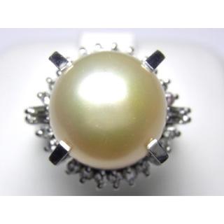 最終価格 お値引き不可 PT900 南洋白蝶パール&ダイヤリング(リング(指輪))