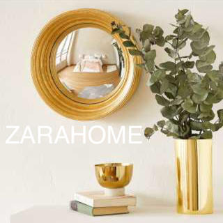 ザラホーム(ZARA HOME)の新品未使用 ザラホーム ミラー  コンベックスミラー ゴールド 金色 ゴージャス(壁掛けミラー)