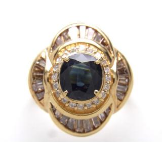 K18 天然サファイア&ダイヤリング(リング(指輪))