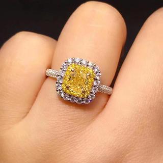 Gia1カラットファンシーライトイエロー指輪(リング(指輪))