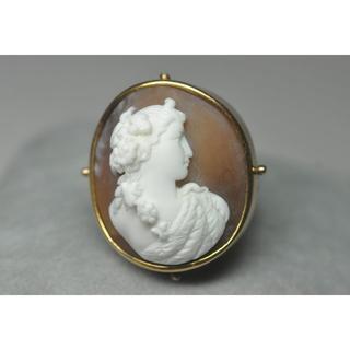 アンティーク 10-12K ゴールド 深彫シェルカメオリング(リング(指輪))
