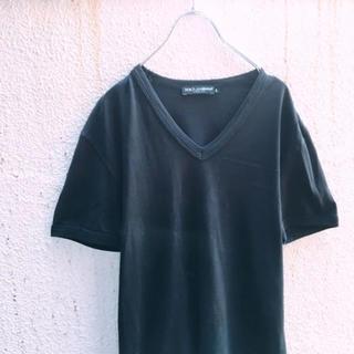 ドルチェアンドガッバーナ(DOLCE&GABBANA)のシンプル! イタリア製 DOLCE & GABBANA 無地 Tシャツ 黒 46(Tシャツ/カットソー(半袖/袖なし))