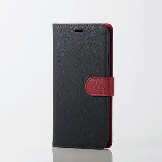 エレコム(ELECOM)のiPhoneXR 手帳型ケース ブラック×レッド サフィアーノ調 ソフトレザー(iPhoneケース)