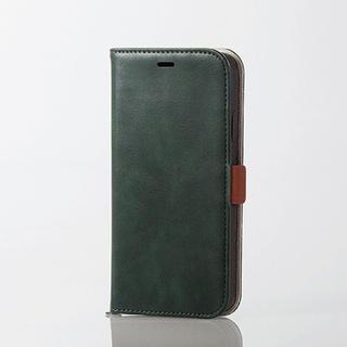 エレコム(ELECOM)のiPhoneXR 手帳型ケース グリーン ソフトレザー Vluno スマホケース(iPhoneケース)