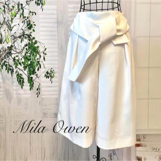 ミラオーウェン(Mila Owen)の美品 Mila Owen ウエストリボン パンツ ガウチョ ボトム ホワイト(カジュアルパンツ)