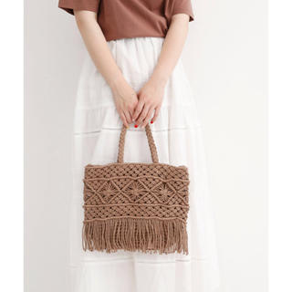 メルロー(merlot)のマクラメ編みハンドル×トートバッグ(トートバッグ)