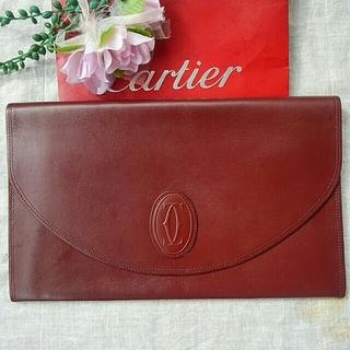 カルティエ(Cartier)のCartier マストライン セカンド クラッチバッグ ボルドー(クラッチバッグ)