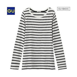 GU フライスクルーネックT(ボーダー) Tシャツ