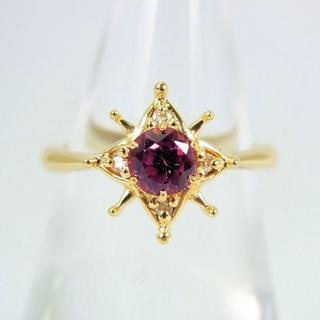 K18 ロードライトガーネット ダイヤモンド リング 8号[f37-17](リング(指輪))