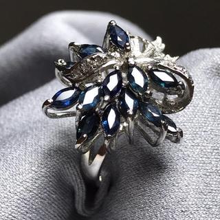 指輪 リング ブルー サファイア シルバー 925 16号(リング(指輪))