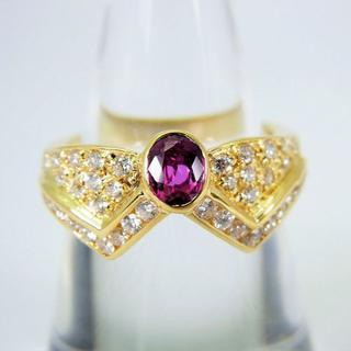K18 ルビー ダイヤモンド リング 12号[f37-24](リング(指輪))