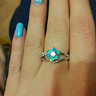 ブルーオパール フラワー 花 リング 指輪 AAAランク ダイヤモンドcz(リング(指輪))