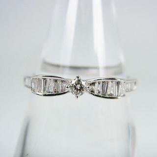 K18WG ダイヤモンド リボン リング 15号 [f37-41](リング(指輪))