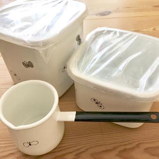 mina perhonen - ミナペルホネン choucho 野田琺瑯保存容器&バターウォーマー 3点セット