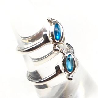 天然石 ブルートパーズ ホヌ リング ペア シルバー925 ハワイアンジュエリー(リング(指輪))