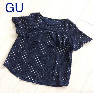 ジーユー(GU)のGU ドットフリルブラウス(半袖)LR ネイビー M(シャツ/ブラウス(半袖/袖なし))