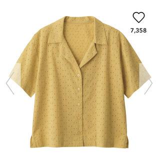 ジーユー(GU)の♡コットン レース 開襟シャツ♡(シャツ/ブラウス(半袖/袖なし))