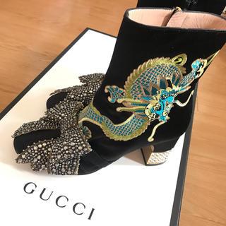 グッチ(Gucci)のGUCCI dragon embroidered silk boot 日本未発売(ブーティ)