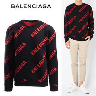 バレンシアガ(Balenciaga)の【4】BALENCIAGA 新品本物 19ss ブラック×レッド クルーネックL(ニット/セーター)